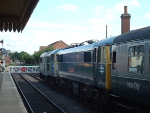 86101 being 'dragged' by 31468 at Dereham on the Mid Norfolk Railway
