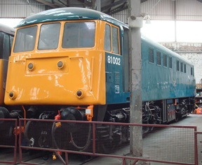 81002 newly painted into Rail Blue livery at Barrow Hill